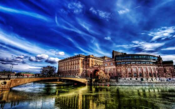 мост, река, hdr, камень, castle, санкт, петербург, город, разводной,