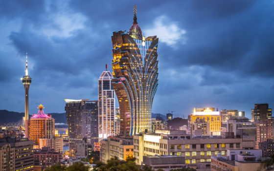 китай, небоскреб, панорама, здание, макао, ночной макао, отель