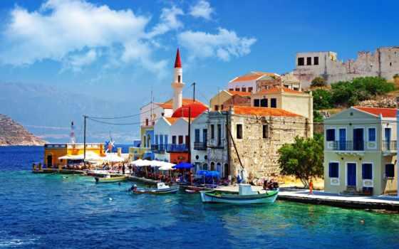 greek, города, крит, заставки, дома, море, greece, лодки, фотографий, остров,