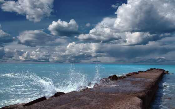 море, причал, волна, облако, starve, небо, marine, брызги, скалистый, beat