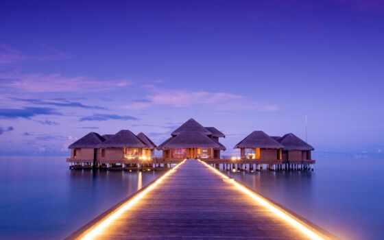 природа, причал, ipad, maldives, огонь, тв, pier, небо, море, gigabyte, озеро