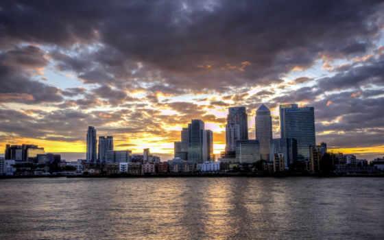 река, город, лондон, заката, облока, фоне,