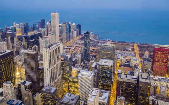 город, chicago, ночь Фон № 68335 разрешение 1920x1200