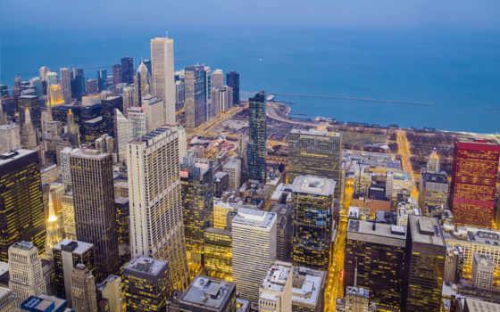 город, chicago, ночь