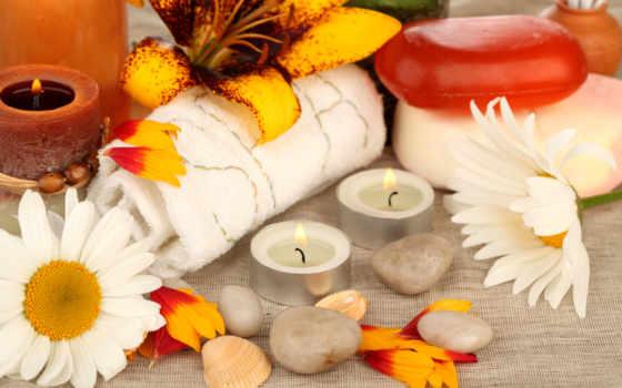 свечи, цветы, скалы, полотенца, лепестки, ракушки,
