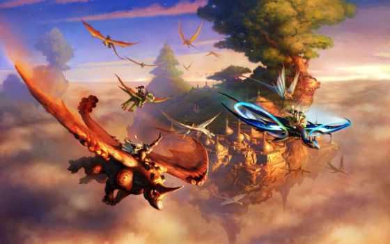 fantasy, полет, art, небе, существа, город, картинка, flying,