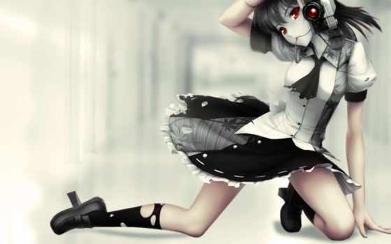 anime, девушка, картинка, широкоформатные, фотоаппаратом, full,