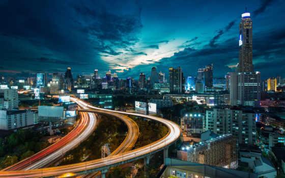 достопримечател, таиланда, time, ночное, thai, город, суток, bangkok,