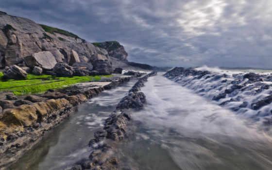 скалы, waves, море, берегу, дек, бьются, volpuri, she, небо, lighthouse, со,