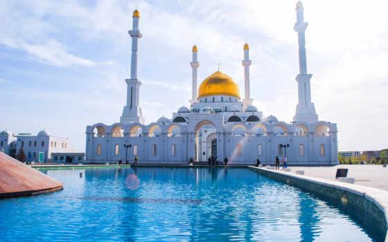 astana, казахстан, mosque, минарет, fountain, люди,