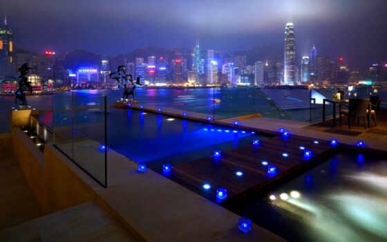 ночь, города, дома, свет, природы, бассейн, терасса, кровать, небоскребов, город, огни,