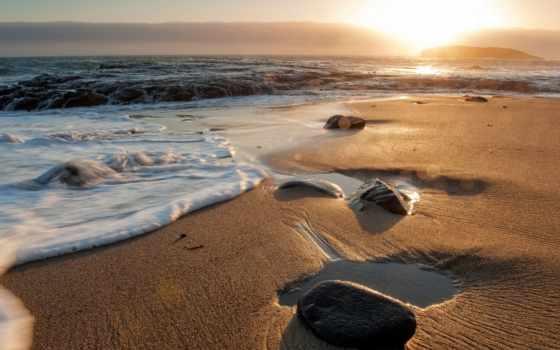 пляж, waves, песок