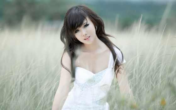 девушка, asian, волосы, black, girls, this, трава, категория,