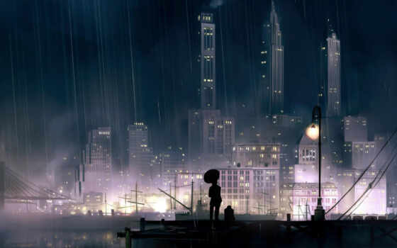 night, rainy, city,