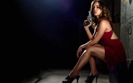 девушки, девушка, пистолетом