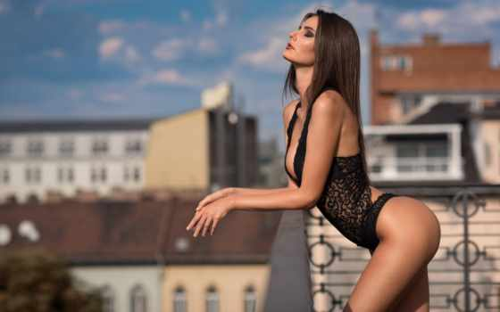 , черное белье, балкон, эротика,