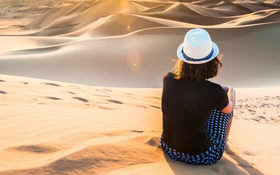 шляпа, девушка, су, ди, пустыня