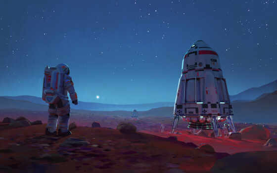 scus, art, fantasy, science, фантастика, космос, марс, artwork, spaceship