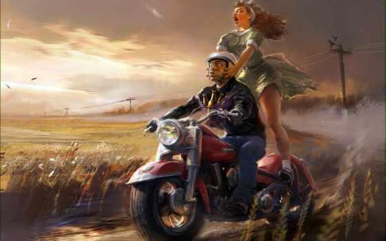арта, девушка, мотоцикл, art, зелёный, detailed, поле, вадим, песочница, скучать, красивый