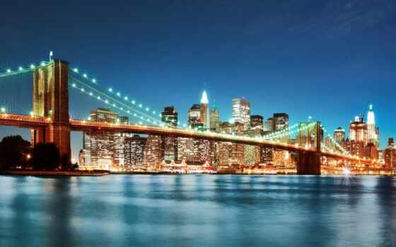 мост, бруклин, фотообои, york, нью, город, артикул, ночь