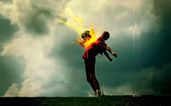 desktop, мяч, download, огненный, soccer, спорт, high, flaming, рисованное, boy, definition, wide,