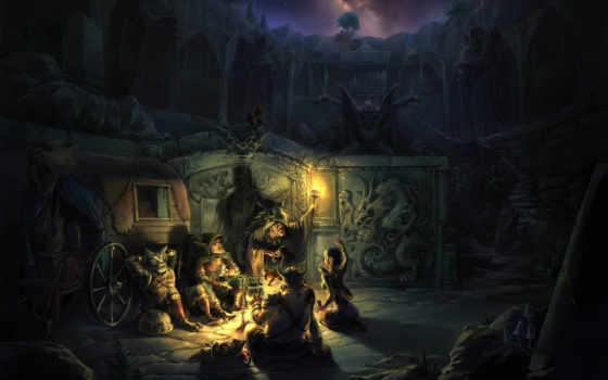 факел, повозка, фэнтези, fantasie, чебур, ночь, руины, привал, арт, ответить, костер, эльф,