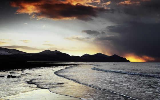 пляж, вечер, море