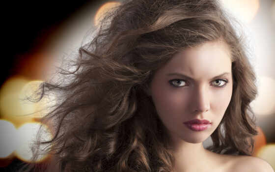 девушка, макияж, шатенка