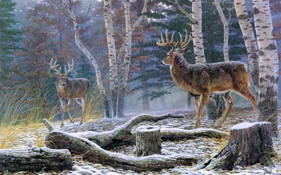 art, animal, живопись, print, снег, лес, нефть, лань, landscape, гигант, стена,