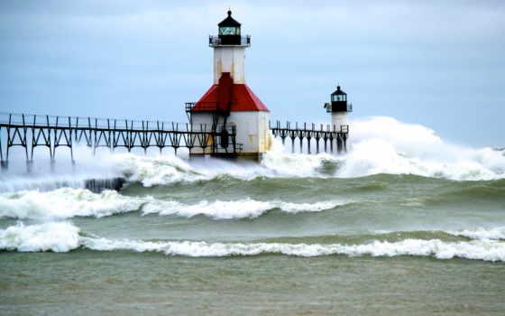 озеро, lighthouse, waves, буря, michigan, pier, закат, янв, надвигающегося, шторма, оранжевый,