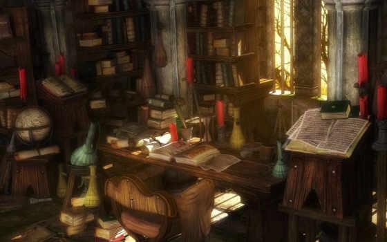 кабинет, алхимика, разных, книг, кучей, заваленный, колбочек, красными, засыпанный, везде,