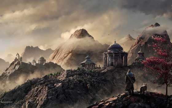 горы, japanese, landscape, fantasy, trees, волки, коллекция, лучшая,