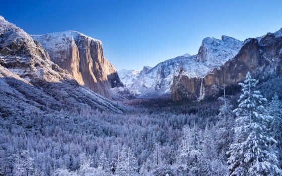 park, yosemite, national, снег, дорога, рассвет, winter, spark, восход, destin