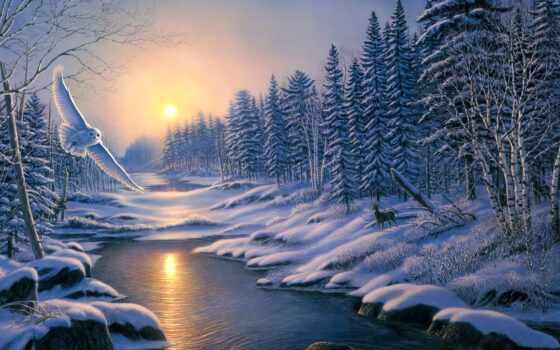 зимний, пейзаж, winter, vyshivka, risunok, harakteristika, deka, zima, красивый, pk, част
