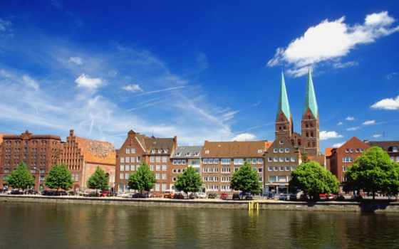 германия, любек, wallpapers, wallpaper, city, дома, река,