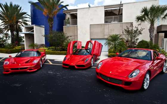 карсный,ферари,три машины, красный ферари,