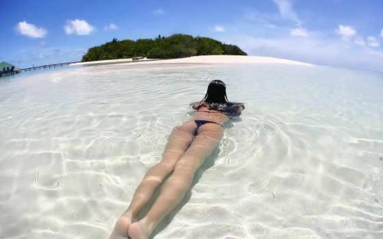 девушка, water, ноги