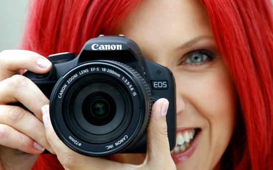 фотоаппарат, canon, девушка