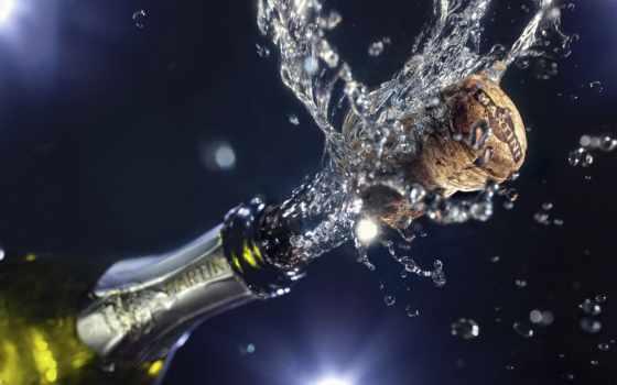 new, год, шампанское, дек, бокалы, праздник,