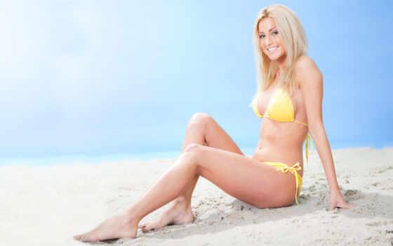 пляж, женщина, ft