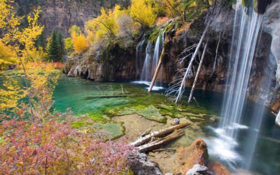 озеро, hanging, colorado, сша, скалистый,