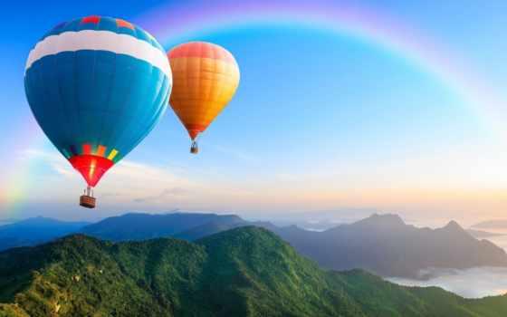 воздушные, шары, радуга, со,
