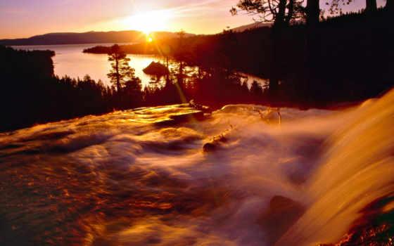 водопады, водопадом, рассвет, со, природы, водопад, природа, красивые, разрешением,