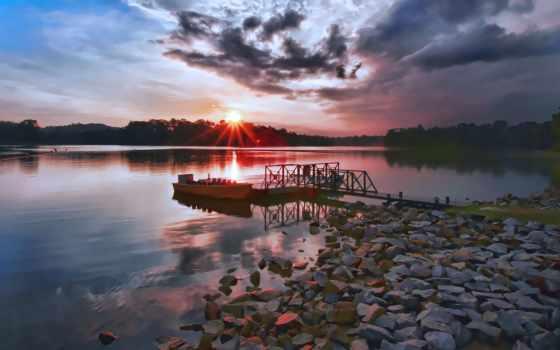 утро, лодка, pier, раньше, закат, озере, картинка, share,