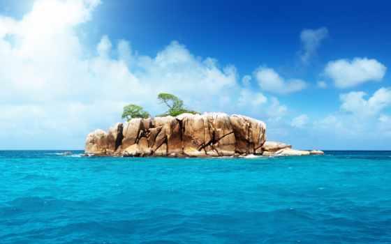 остров, комод, океане, небо, ocean,