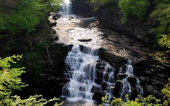 clyde, природа, водопады, озеро, falls, шотландия,