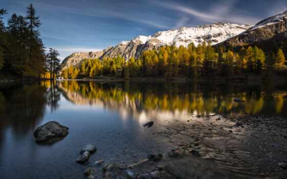 природа, озеро, лес, tarn, elevation, гора, песочница, часы, страница, показать