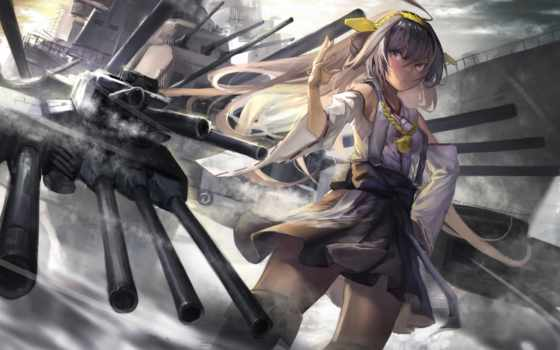 kantai, коллекция, kongou, девушка, art, ghostas, anime,