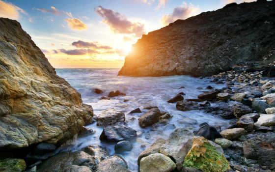 скалы, море, волны