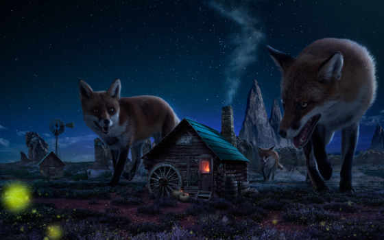 house, fantasy, рисунок, демоны, ночь, лисы, лес,